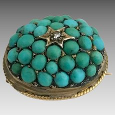 Antique 10k Gold Victorian Diamond Pave Cluster Turquoise Brooch Pin