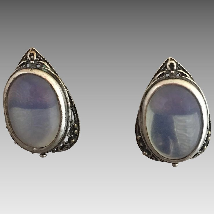sterling amazon back silver moon stone latch rainbow earrings com moonstone dp