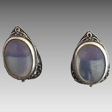 Russian Signed Glowing Blue Moonstone Earrings