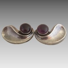 Antonio Pineda 970 Sterling Silver Amethyst Gemstone Modernist Earrings