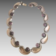 Sterling Silver Mexican Taxco Amethyst Gemstone Modernist Necklace