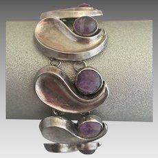 Sterling Silver Mexican Taxco Amethyst Gemstone Modernist Bracelet