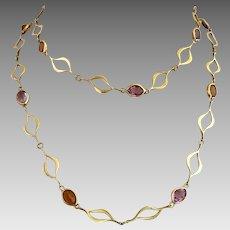 Retro 14K Gold Amethyst & Citrine Multi Gemstone Link Necklace
