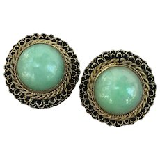 Antique Chinese 14k Gold Silver Jadeite Jade Earrings