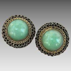Antique Chinese 14k Gold Silver Jadeite Jade Earrings