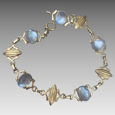 Retro 14k Gold Glowing Moonstone Bracelet