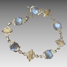 Retro 14k Gold Glowing Moonstone Bracelet