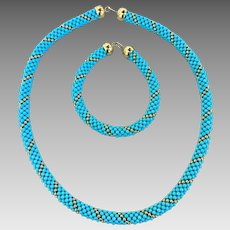 18k Gold Italian Designer Turquoise Beaded Woven Necklace and Bracelet Set