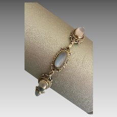 Art Deco Sterling Silver Glowing Moonstone Bezel Set Bracelet