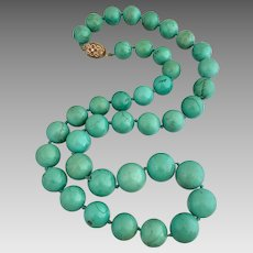 Gilded Silver Chinese Turquoise Gemstone Beaded Necklace Heavy 156 Grams