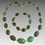Black Starr & Frost Art Deco 14k Gold Natural Turquoise Necklace and Bracelet Set
