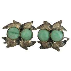 Antique Jadeite Jade Sterling Silver Earrings