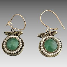 Antique 14k Gold Silver Jadeite Jade Seed Pearl Earrings