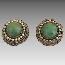 Antique Chinese Gilded Sterling Silver Jadeite Jade Earrings