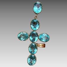 Antique Victorian Aquamarine Paste Stone Open Back Cross Pendant for Necklace
