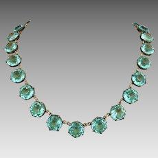 Antique Edwardian Aquamarine Glass Riviere Open Back Necklace