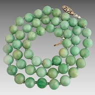 Antique 14k Gold Diamond Jadeite Jade Beaded Necklace Heavy 72 grams