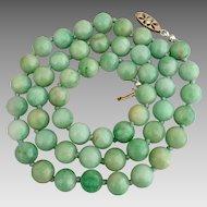 Antique 14k Gold Diamond Jadeite Jade Beaded Necklace Heavy 72 grams