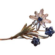14k Gold Retro Glowing Moonstone and Sapphire Brooch Pin