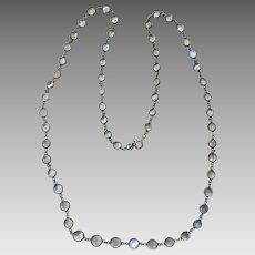Antique Sterling Silver Moonstone Open Back Bezel Set Necklace