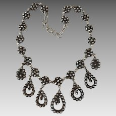Antique Victorian Sterling Silver Cut Steel Drop Festoon Necklace