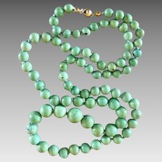 Art Deco 14k Gold Chinese Turquoise Stone Beaded Necklace