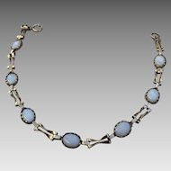 European 9K Gold Genuine Opal Bezel Set Bracelet Hallmarked