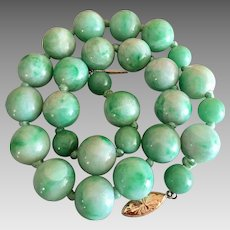 Antique Natural Jadeite Jade Gemstone 14k Gold Beaded Necklace