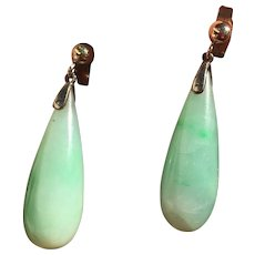 Antique 9k Gold Natural Jadeite Jade Drop Earrings Pierced