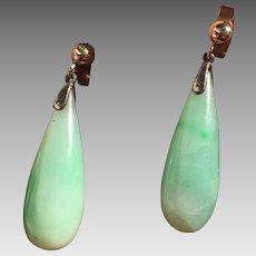 Antique 9k Gold Natural Jadeite Jade Drop Earrings Pierced