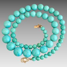 Art Deco 18K Gold Italian Turquoise Amazonite Cultured Pearl Beaded Necklace