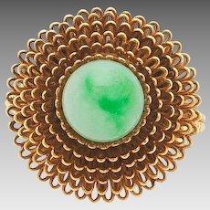 Retro 14K Gold Natural Jadeite Jade Beaded Ring