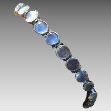 Art Deco Sterling Silver Moonstone Bezel Set Necklace