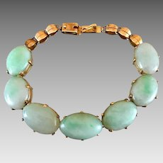 Art Deco 14k Gold Natural Jadeite Jade Gemstone Bracelet
