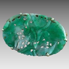 Art Deco 14k Gold Carved Natural Jadeite Brooch Pin