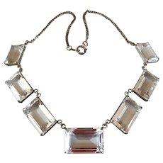 Art Deco Sterling SIlver Japan Quartz Rock Crystal Gemstone Necklace