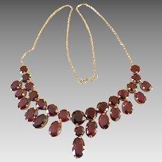 Art Deco 9k Gold Garnet Gemstone Drop Festoon Necklace