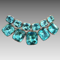 Georgian 14k Gold Aquamarine Paste Brooch Pin