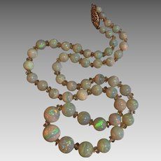 Antique Edwardian Austrian Opal Quartz Rock Crystal Gemstone Beaded Necklace