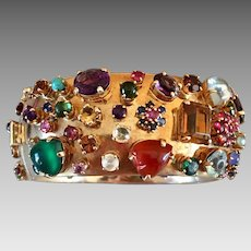 Retro 14k Gold Tutti Frutti Multi Gemstone Ruby Sapphire Aquamarine Bangle Bracelet
