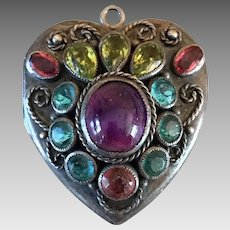 Art Deco Hobe Sterling Silver Genuine Amethyst Gemstone Jewel Photo Locket Pendant for Necklace