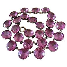 Antique Edwardian Sterling Riviere Open Back Amethyst Paste Crystal Necklace George H Cahoone