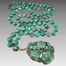 Antique Chinese Carved Gourd Beaded Turquoise Gemstone Pendant Necklace