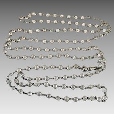 Art Deco European Platinon Crystal Paste Open Back Bezel Set Muff Guard Chain Necklace