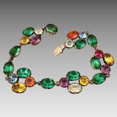 Antique Georgian 14k Gold Riviere Harlequin Paste Crystal Bracelet