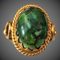 Antique Edwardian 14k Gold Natural Turquoise Ring
