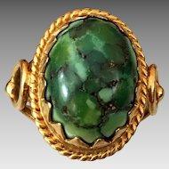 Antique Edwardian 14k Gold Natural Turquoise Ring