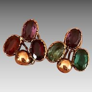 Antique 9k Gold Silver Riviere Harlequin Paste Earrings
