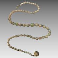14k Gold Opal Quartz Rock Crystal Gemstone Beaded Necklace