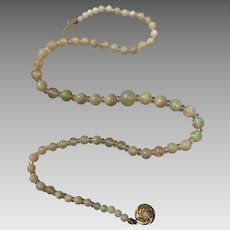 14k Gold Opal Quartz Rock Crystal Gemstone Beaded Necklace